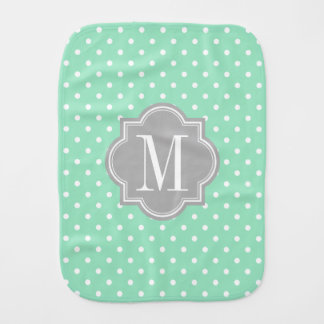 Mint Polka Dot with Gray Monogram Baby Burp Cloths