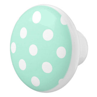 Mint polka dots knob/drawer pull ceramic knob