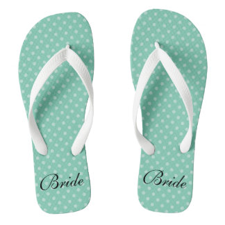 Mint polka dots pattern wedding bride flip flops
