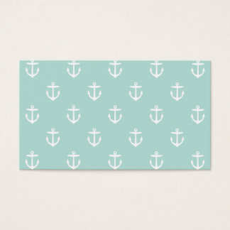Mint Preppy Anchors Blank Business Card Template