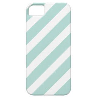 Mint Preppy Nautical Diagonal Stripes iPhone 5 Cover