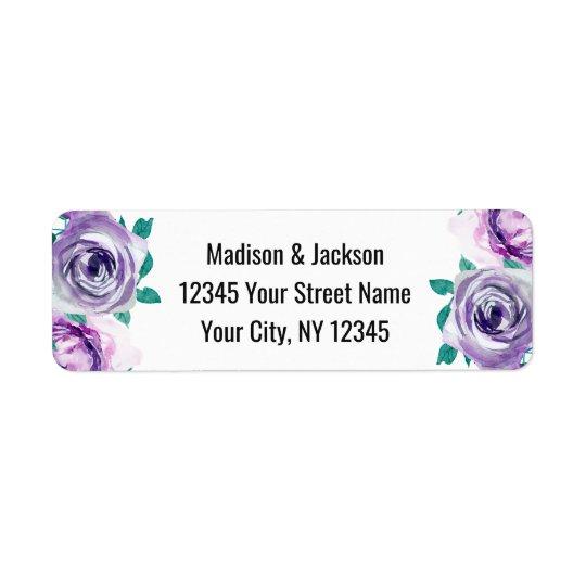Mint & Purple Floral Rose Wedding Return Address