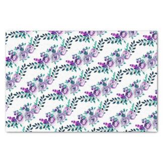Mint & Purple Floral Watercolor Bouquets Wedding Tissue Paper