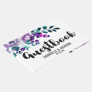 Mint & Purple Floral Watercolor Wedding Monogram Guest Book