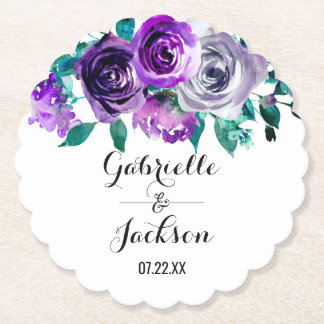 Mint & Purple Floral Watercolor Wedding Monogram Paper Coaster