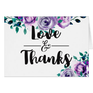 Mint & Purple Floral Watercolor Wedding Thank You Card