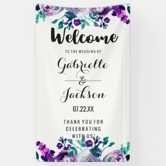 Mint & Purple Floral Watercolor Wedding Welcome Banner
