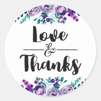 Mint & Purple Floral Wedding Love & Thanks Favour Classic Round Sticker