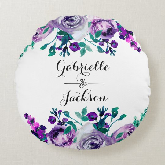 Mint & Purple Floral Wedding Ring Bearer Round Pillow