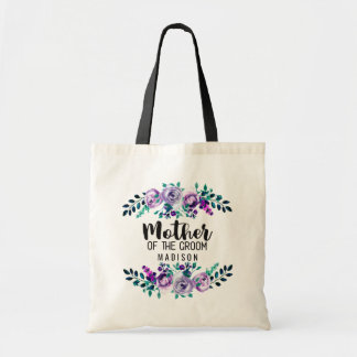 Mint & Purple Floral Wreath Mother of the Groom Tote Bag