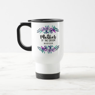 Mint & Purple Floral Wreath Mother of the Groom Travel Mug
