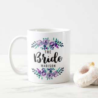 Mint & Purple Floral Wreath Wedding Bride Coffee Mug