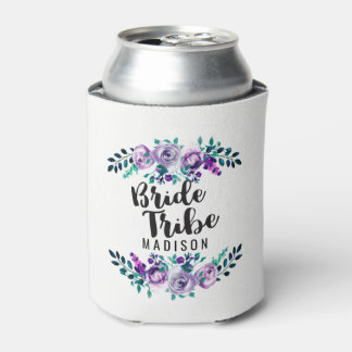 Mint & Purple Floral Wreath Wedding Bride Tribe Can Cooler