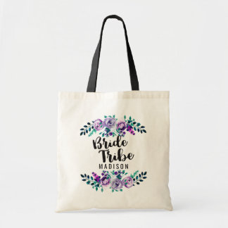 Mint & Purple Floral Wreath Wedding Bride Tribe Tote Bag