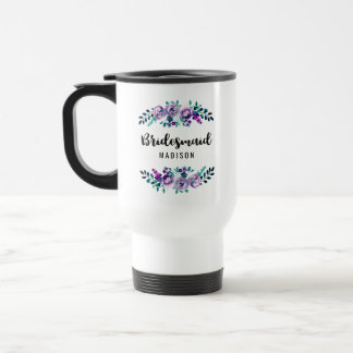 Mint & Purple Floral Wreath Wedding Bridesmaid Travel Mug