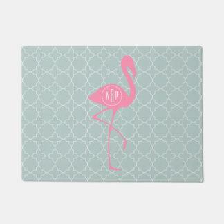 Mint Quatrefoil Monogram Flamingo Doormat