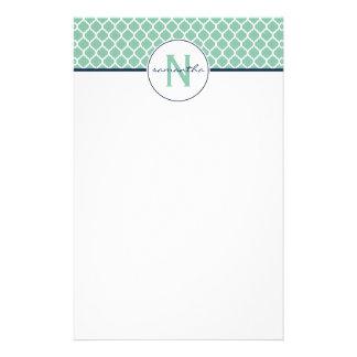 Mint Quatrefoil Monogram Personalized Stationery