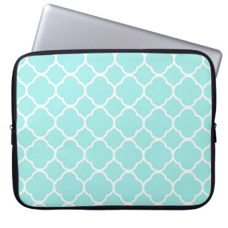 Mint Quatrefoil Moroccan Print Laptop Sleeve