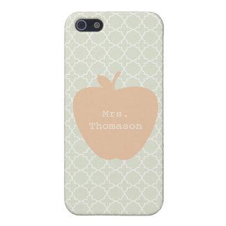 Mint Quatrefoil & Peach Apple Teacher iPhone 5 Case