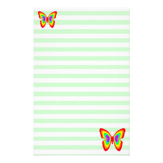 Mint Rainbow Butterflies Stationery