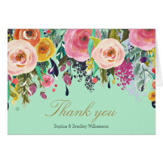 Mint Romantic Garden Floral Watercolor Thank you Card
