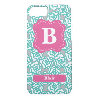 Mint Roses Pink Monogram iPhone 7 Case