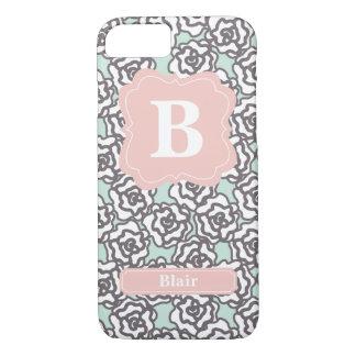 Mint Roses Pink Monogram iPhone 7 Case