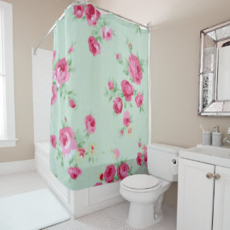 Mint Roses Shabby Chic Shower Curtain