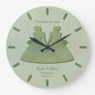 Mint Rustic Clock Wedding Gift for Lesbian Brides