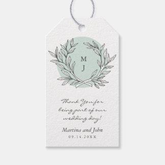 Mint Rustic Monogram Wreath Wedding Favor Tag