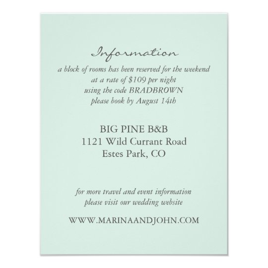 Mint Rustic Monogram Wreath Wedding Info Card