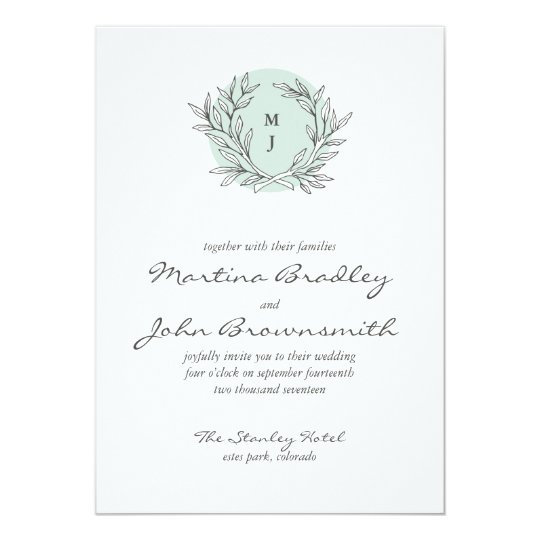 Mint Rustic Monogram Wreath Wedding Invitation