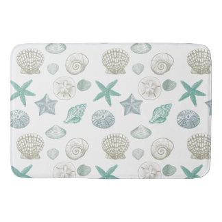 Mint Sand Blue Shells Bath Mat