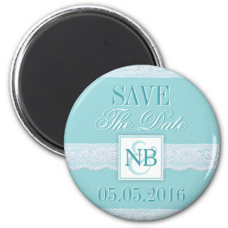 Mint Save The Date magnets with Monograms wedding