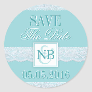 Mint Save The Date stickers with Monograms