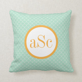 Mint Scallop and Gold Monogram Pillow