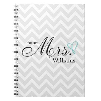 Mint Scribbled Heart Future Mrs Wedding Spiral Note Books