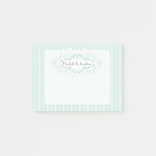 Mint Scrolls and Ribbons Wedding Post-it Notes