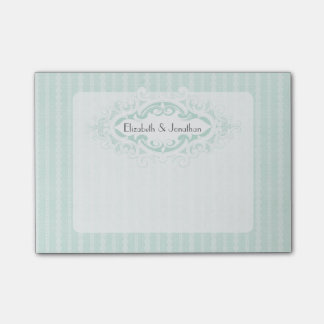 Mint Scrolls and Ribbons Wedding Post-it® Notes