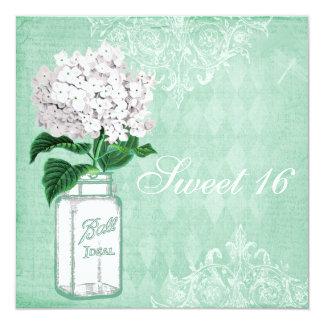 Mint Shabby Chic Mason Jar & Hydrangea Sweet 16 Card
