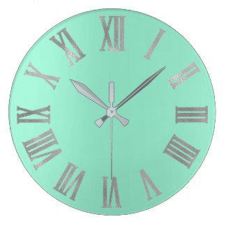 Mint Silver Gray Pastel Metallic Roman Numers Large Clock