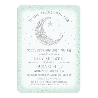 Mint Silver Twinkle Little Star Baby Shower Card