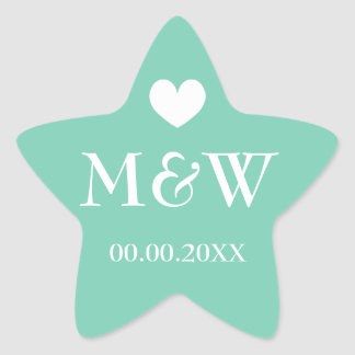 Mint star fish monogram wedding favor stickers