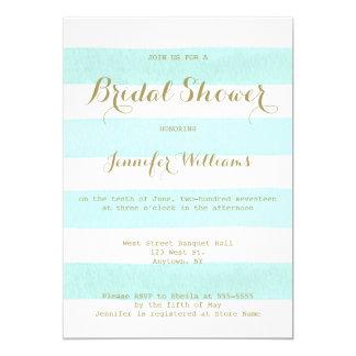 Mint stripe gold script bridal shower invitations