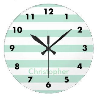 Mint stripe large clock