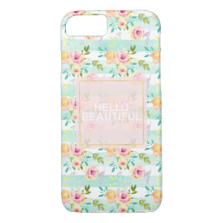 Mint Stripes Floral Chic Case-Mate iPhone Case
