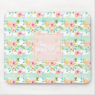 Mint Stripes Floral Chic Mouse Pad