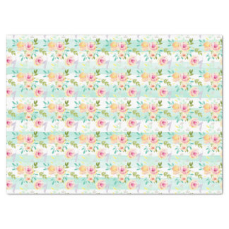 Mint Stripes Floral Chic Tissue Paper