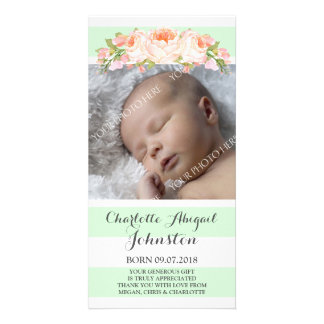Mint Stripes Floral Thank You Baby Shower Photo Cards