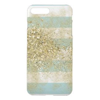 Mint Stripes Gold Faux Glitter iPhone 8 Plus/7 Plus Case